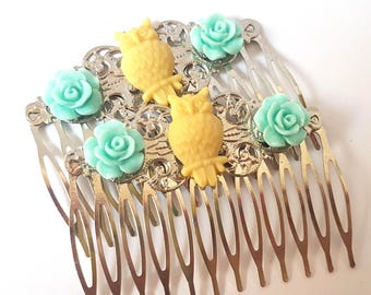 Blue Yellow Owl Hair Combs Woodland-Regency-Shabby Chic Style-Trendy-Wedding Combs-Floral Combs-Stocking Stuffer-Teen Girls-Bird Accessory