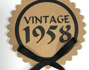 60th Birthday - Vintage 1958 - Cake Topper Decoration, Candy Pick, Kraft Brown and Black or Your Choice of Colors