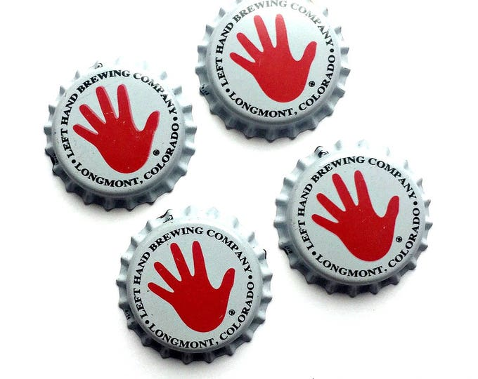 Craft Beer Magnet Set, Left Hand Brewing Co. Cap Magnets, Beer Bottle Top Magnets, Set of Four, File Cabinet Magnet, Refrigerator Magnets