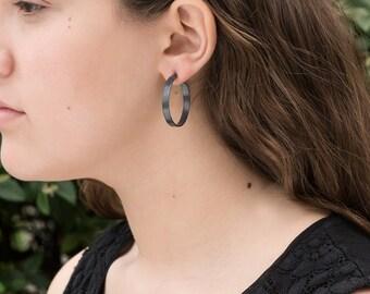 Sterling Silver Hoop Earrings,  Wide 30mm Oxidized