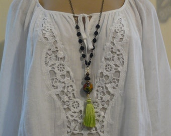 Long Tassle Necklace, Jet Beads, Lime Green Tassle Necklace, Handmade Necklace, Unique Necklace, A Gift for Her, Mother's Day Gift Idea