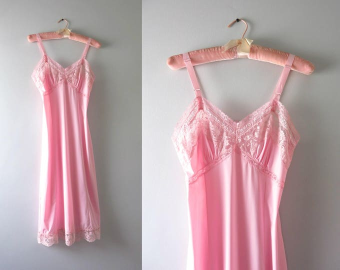 Vintage Pink Slip Dress | 1960s Adonna Pale Pink Full Slip M