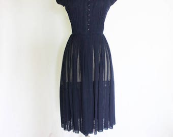 Vintage 1950s 50s Navy Blue Pleated Sheer Cotton Day Dress