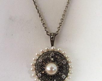 Lg STERLING- MARCASITE LOCKET Necklace- Pearl & Rhinestone- Judith Jack