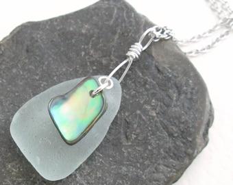 Mint Green Sea Glass Pendant, Natural Abalone Shell Jewelry, Beach Theme Gift