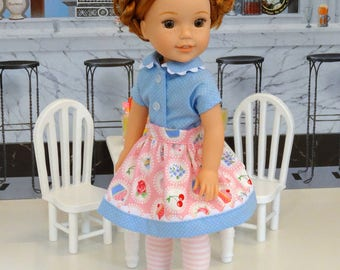 Tea and Cakes Blue - Blouse, skirt, tights & shoes for Wellie Wisher doll