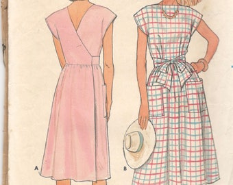 Butterick 6600 1980s Misses Easy and Easy Back Wrap Dress Pattern  Womens Vintage Sewing Pattern Size 14 16