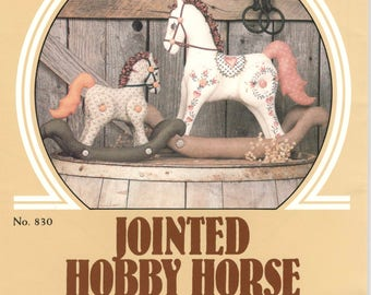Donna Gallagher Creative Needlarts 830  1980s Jointed Hobby Horse Pattern 8 and 12 Inches Equine Home Decor Vintage Toy Sewing Pattern UNCuT