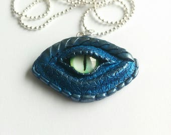 OOAK Blue and silver dragon eye necklace - polymer clay - fantasy pendant - dragon eye - dragon jewelry