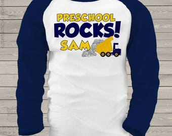Back to school STUDENT shirt - preschool or any grade rocks dump truck raglan shirt  - great for first day or any school day  mscl-106-r