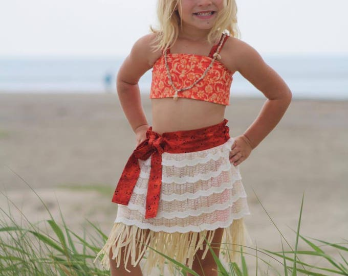 Moana Birthday Costume - Moana Party Dress - Moana Toddler Costume - Girls Grass Skirt - Moana Outfit - hand made - 12 months to 8 years