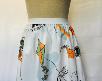 "Peanuts with Kites Ladies skirt from upcycled vintage fabric -fits 36""-42"" waist"