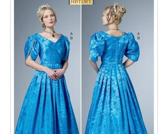 Historical Dress with Tulip Sleeves & Chemisette Pattern - Butterick B6501 Sewing Pattern - US Sizes  6 -8 -10 -12 -14 or 14 -16 -18 -20 -22