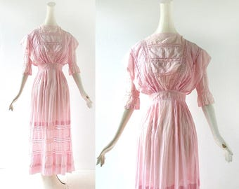 Vintage Edwardian Dress | 1910s Dress | Pink Tea Dress | XXXS