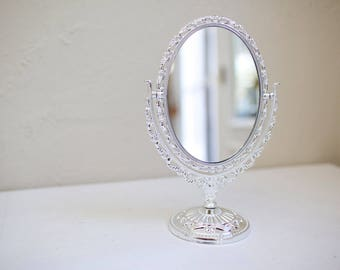 "6"" x 10"" Oval Silver Vanity Plastic Mirror. Blank or for custom painted wedding sign. Menu, dessert bar, cocktails, instagram, welcome"