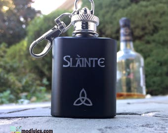Personalized Mini Flask, Slainte, Engraved Hip Flask, Gift for Dad, Scottish Groomsmen Gift, Sassenach Gift, Irish Whiskey Gift for HIm