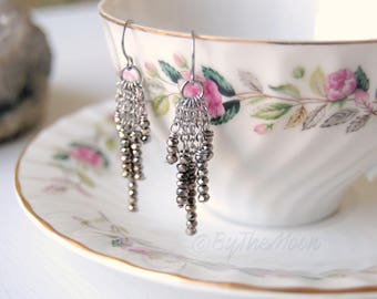 Silver Earrings, Chandelier Earrings, Gifts, Gift for Women, Gift for Girlfriend, Stainless Steel Earrings, Hypoallergenic Earrings
