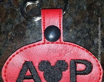 "Digital Embroidery Design Machine Key Fob AP Ticket With Mister Mouse Head In The Hoop Project 4""-10"""