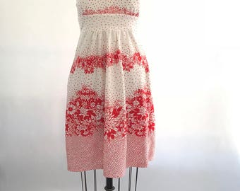 70s halter dress | 1970s red and white dress | vintage summer dress