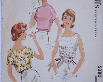 1960's McCalls 5380 Vintage Sewing Pattern Back Buttoned Blouse Front Over Blouse Scoop Neckline Short Sleeves 60s Shirt Pattern Bust 34