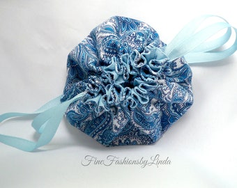 Blue Paisley, Jewelry Travel Pouch, Small Drawstring Bag, Ribbon Drawstring, Small Travel Bag