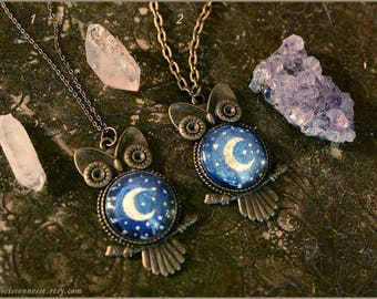 1 Starry Night Owl art necklace handpainted Moon Luna - wearable art - illustrated jewelry