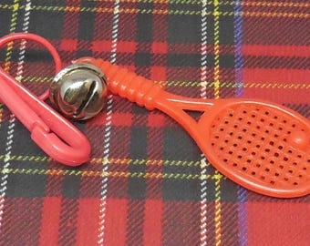 1980s Bell Charm - Red Tennis Racket - Jewelry - Charm Necklace - Clip Keychain - Zipper Pull - Kitschy 80s Fashion - Sports - Badnminton