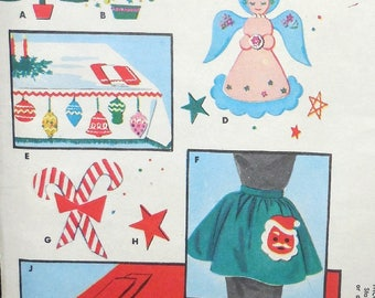 McCall's 1997 - Vintage 1950s Christmas Motifs for Applique & Decoration - Santa Apron, Tablecloth, Candy Canes, Angels, Trees - UNCUT RARE