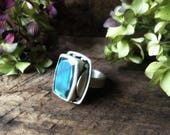 labradorite statement ring, sterling silver, blue flash, faceted labradorite, size 7.75, festival ring, gypsy ring, rectangle ring, boho