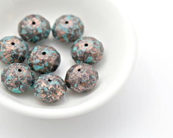 Acrylic Antique Copper Faceted Rondelle Spacer Verdigris Patina Beads Aged 14mm (16)