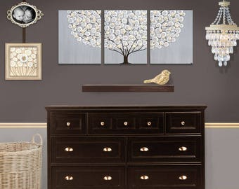 Modern Painting Original Artwork on Large Triptych Canvas - Flowering Tree in Gray and Brown - 50X20