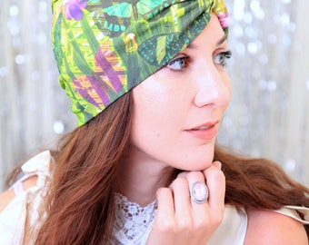 Turban Hat - Women's Organic Cotton Headwrap - Tropical Butterfly Print Hair Wrap - Fashion Turbans