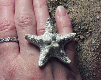 Seastar. Bohemian Beach Nautical Genuine Natural Starfish Statement Ring.