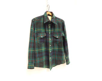 1940s Plaid Shirt Wool Plaid Shirt Green Plaid Shirt Wool Flannel Shirt Pearl Snap Shirt Plaid Shirt Lumberjack Shirt men M women L