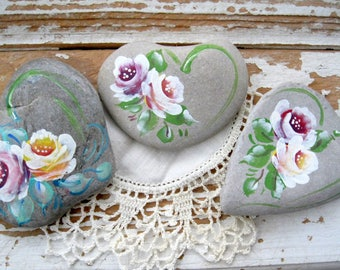 Stone Hearts, Painted Roses, Set of Three, Hand Painted Paper Weights, Beach Stones, Painted Stones, Painted Rocks, by gardenstones on etsy