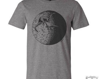 Mens MOON Dinosaurs t shirt s m l xl xxl (+ Color Options) hand screen printed Zen Threads