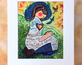 A Clean Heart, Psalm 51 art print, gift for Christian woman or girl's confirmation