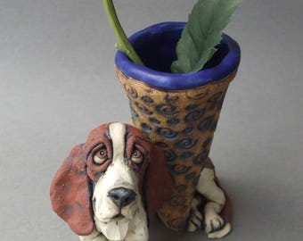 Basset Hound Sculpture Ceramic Vase
