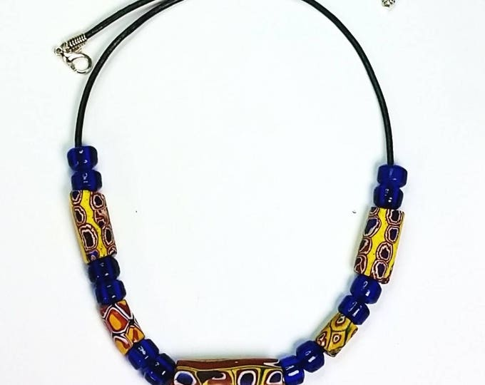 Trade Beads on Leather Cord Adjustable Necklace Number 4