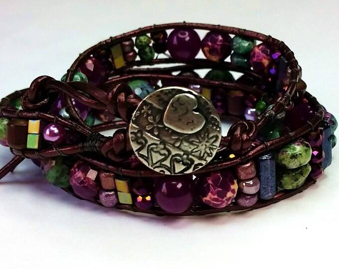 Ultra Violet and Green Bracelet - Purple Triple Wrap Bracelet - Adjustable Wrap Bracelet - Heart Motif - Valentine's Present