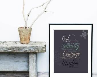 Serenity prayer, Inspirational Friendship Gift, Tree Branch Bird Word Art, god, courage, serenity, wisdom Trendy Home Decor, Wall Art, Gift
