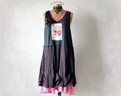 Plus Size Dress Rocker Skull Clothing Grunge Style Women's Tank Dress Art Fashion Recycled Clothes Loose Fit Pink Grey Sundress 3X 'CALIOPE'