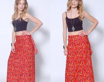 Vintage 70s Red Boho WRAP Skirt Hippie Skirt PRINTED Ethnic Skirt COTTON Skirt 70s Maxi Skirt