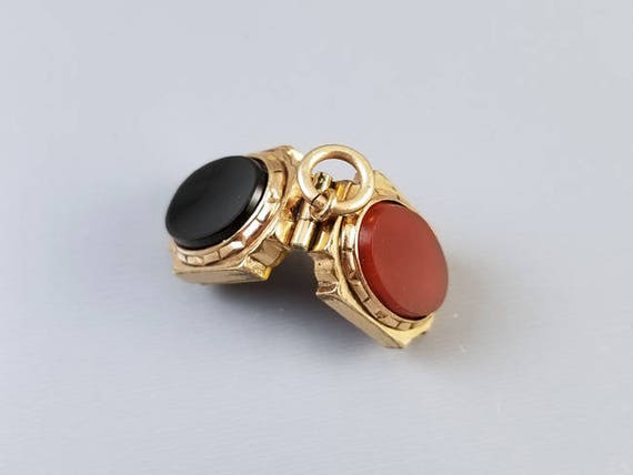 Antique Victorian gold filled black onyx and carnelian locket fob, charm, pendant, necklace, antique locket, watch fob, pocket watch chain