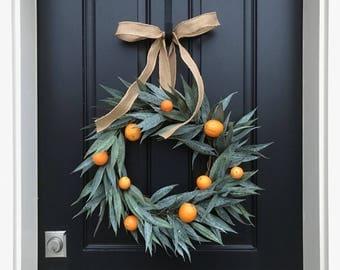 Bay Leaf Wreath, CITRUS WREATHS, Oranges Wreath, Wreath With Oranges, Wreath with Bay Leaves, Spring Door Wreaths, Front Porch Wreaths