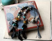 Zero at the Bone Collier Fiberart Textile Necklace with Artisan Beads (46 centimeters/18 inches when open)