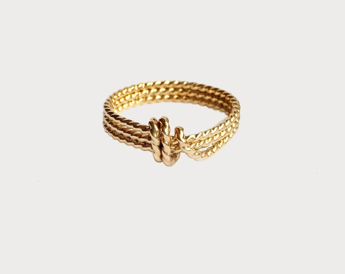 14K Yellow Gold Love Knot Ring_Unique Wedding Promise ring
