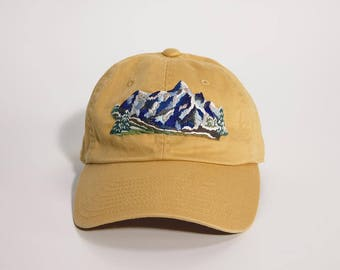 hand embroidered baseball cap Snowy Mountain