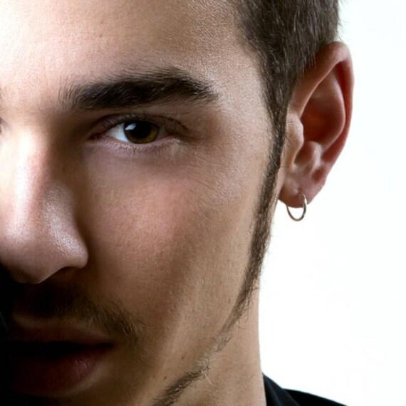 Mens hoop earrings continuous endless hoop earrings white