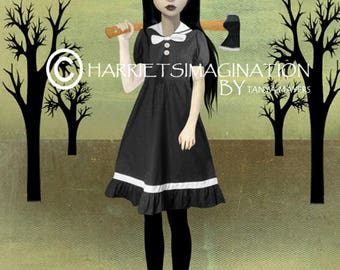 Lizzie Borden Art Print - Lizzie Borden Art - Lolita Art Print - Lolita And Axe - Femme Fatale - Spite